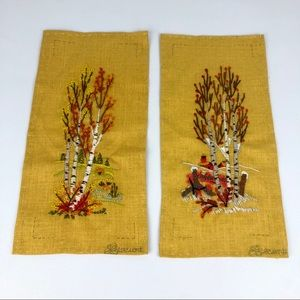 VINTAGE Finished Embroidery Fall Leaves Birch Tree